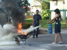 Practising Using the Fire Extinguisher